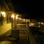 night view of upstairs deck in front of room 60