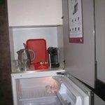 mini kitchen -  with coffee machine and fridge