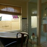 Large bathroom with the door opening up to the semi-private pool and lake view