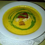 Roast Butternut and Cumin soup with croutons and chives