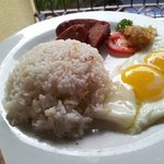 Filipino Breakfast- Fried Rice, Longganisa and Eggs with Coffee
