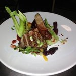 duck 3ways,Pak choi,baby beets,spring onion,sticky orange jus
