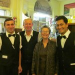 Kathy and waiters at Taverna Pretoriana
