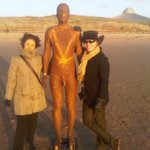 Guests Noelia and Francesca  befriend one of Crosby's 100 iron men