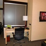 Desk with sliding glass divider to bedroom