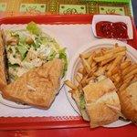 chicken sandwich & chicken panini with fries & salad