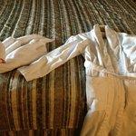 Swan folded towel and white bathrobes