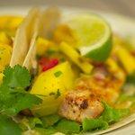 Blackened Sea Bass Tacos with Fresh Mango Salsa