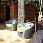 sitting area near pool
