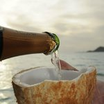 Champagne out of a coconut!