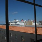 View from the room looking towards the Cruiseline docks (slightly right)