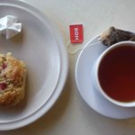 strawberry scone and passionfruit tea