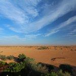 View from restaurant balcony over desert