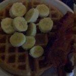 hot breakfast. fresh fruit waffle and side of bacon yum !