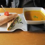 Duck confit wrap with butternut squash soup