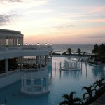 Sunset over the infinity pool (main pool) and Caribbean