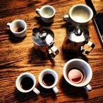 Filter brewed tasting with friends at Drop Coffee