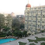 Exterior view, with the pool, which was formerly the front entrance at the  Taj Mahal Palace