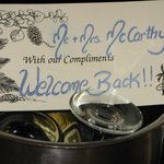 Our welcome note in room