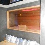 turkse sauna met zicht op tv