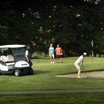 A foursome enjoying a round of golf