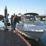 Boarding the Perla Blanca (Vive Loreto's boat)