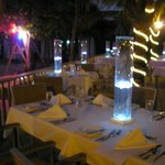 Dinner set up by the beach on Friday night with live music