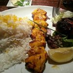 Chicken kebab with saffron and rice