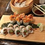 spicy salmon roll, Philadelphia roll and yam tempura