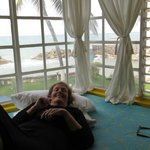 Relaxing in one of the window seats in the condo