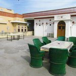 Outdoor dining area on the roof