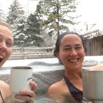 hot tub with mountain views and SNOW!