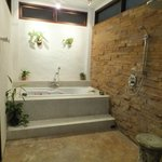 This is the shower and tub room!