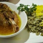 Baghali Polo (Basmati rice with dill weed and lima beans)  with lamb shank