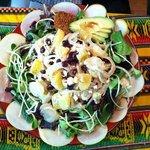 citrus, apple, onion, feta, (huge!) sprouts, avocado, currants