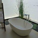 une baignoire entourée d'un bassin