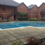 Outdoor pool, bit chilly for November.