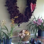 dining room orchids and wreath