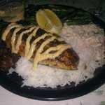 Blackened Catfish with green beans, black beans, jasmine rice and wasabi slaw...YUM!