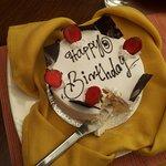 The beautiful birthday cake.
