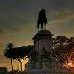 Garibaldi al Gianicolo al tramonto...