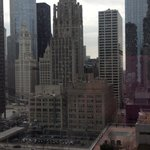 view of Chicago skyline from our room