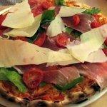 Juventina pizza with parma ham, rocket & parmesan