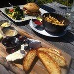 pork sandwich and cheese board