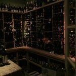 Corner of the very extensive wine cellar