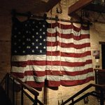 American flag made from old blue jeans.