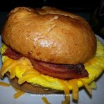Egg sandwich on a Sunshine bagel