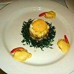 Egg Florentine with scallops