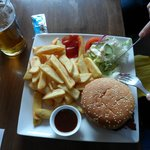 Beef Burger and Chips at Rocky's Bar Yummie!