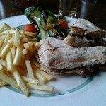 4oz steak ciabatta, chips, salad £6.50 Delicious!